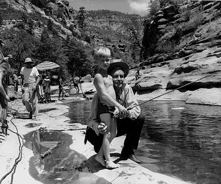 On location at Oak Creek in Arizona during filming of