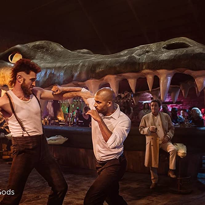 Ian McShane, Pablo Schreiber, and Ricky Whittle in American Gods (2017)