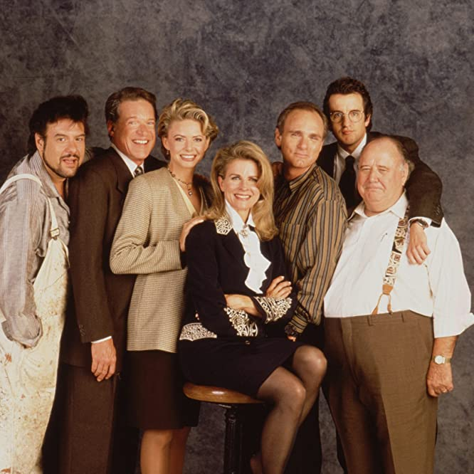 Candice Bergen, Faith Ford, Joe Regalbuto, Pat Corley, Charles Kimbrough, Robert Pastorelli, and Grant Shaud in Murphy Brown (1988)