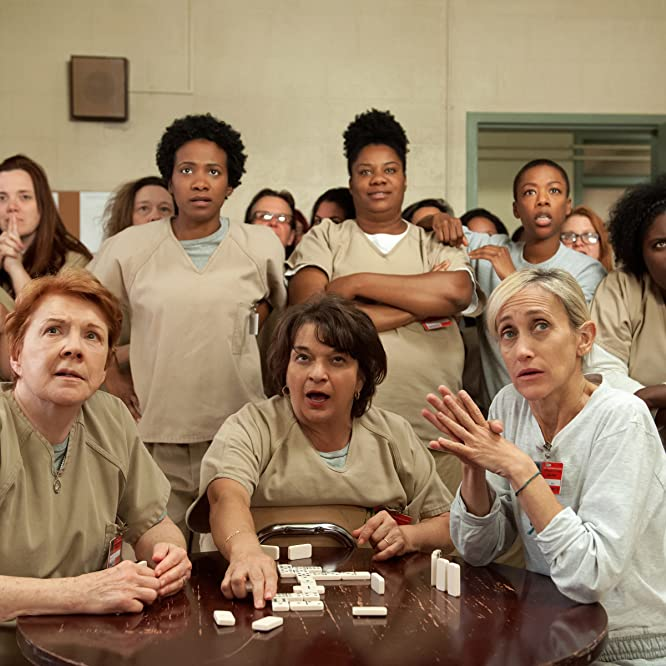 Beth Fowler, Constance Shulman, Lin Tucci, Vicky Jeudy, Adrienne C. Moore, Samira Wiley, and Danielle Brooks in Orange Is the New Black (2013)