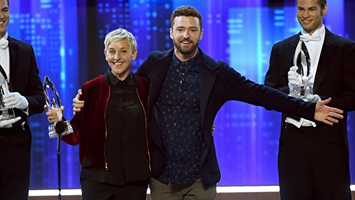 Ellen DeGeneres and Justin Timberlake at an event for The 43rd Annual People's Choice Awards (2017)