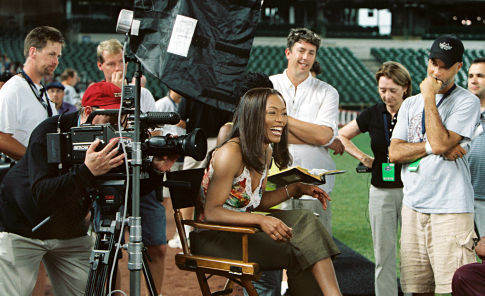 Charles Stone III (right) directs Angela Bassett (center) while producer Maggie Wilde (left of Stone) and Director of Photography Shane Hurlbut (right of Bassett) look on.