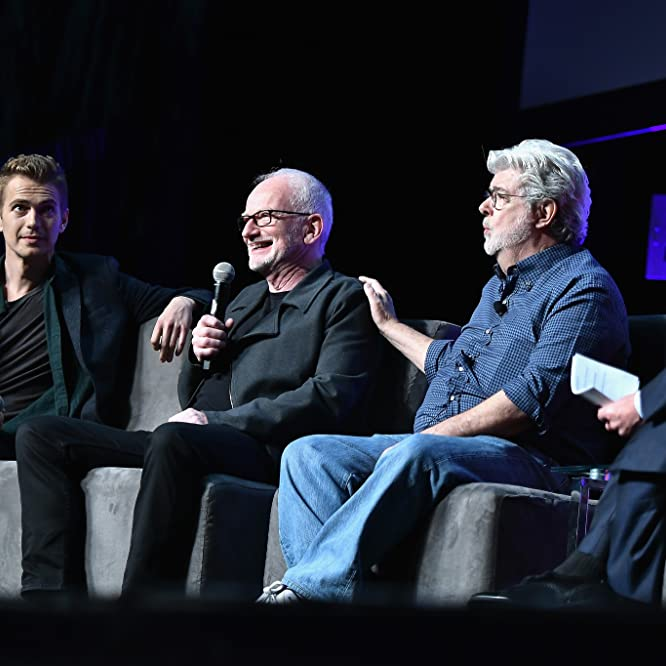 George Lucas, Warwick Davis, Ian McDiarmid, and Hayden Christensen