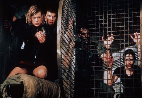 Milla Jovovich, Eric Mabius, James Purefoy, and Michelle Rodriguez in Resident Evil (2002)