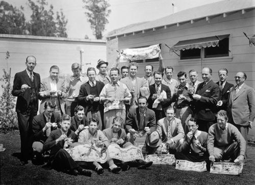 Walt Disney and staff of animators circa 1930