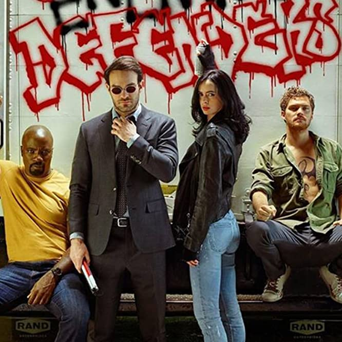 Charlie Cox, Krysten Ritter, Mike Colter, and Finn Jones in The Defenders (2017)