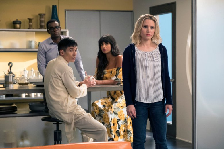 Kristen Bell, William Jackson Harper, Manny Jacinto, and Jameela Jamil in The Good Place (2016)