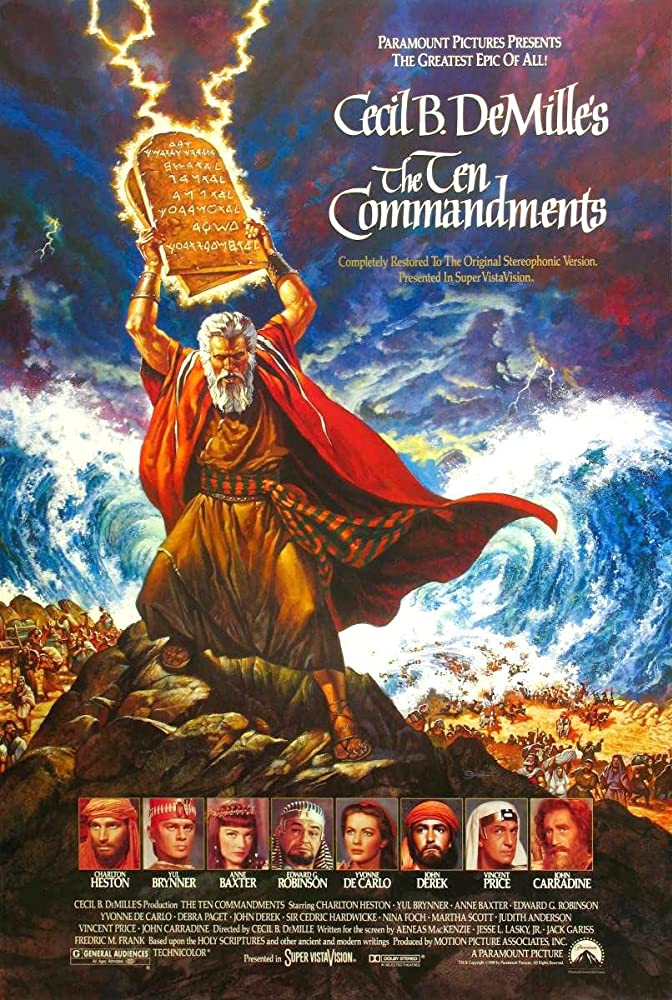 Charlton Heston, Edward G. Robinson, Anne Baxter, Yul Brynner, John Carradine, Yvonne De Carlo, John Derek, and Vincent Price in The Ten Commandments (1956)