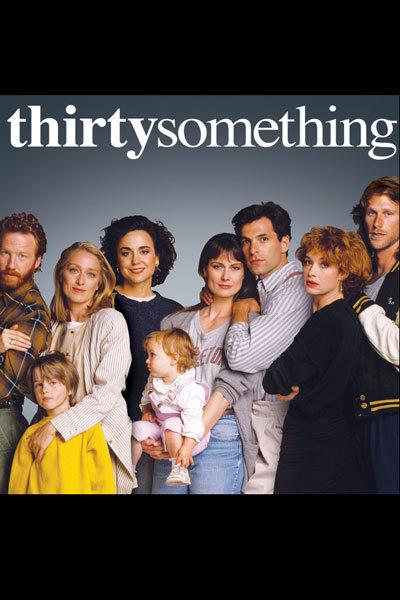 Mel Harris, Peter Horton, Timothy Busfield, Polly Draper, Melanie Mayron, Ken Olin, and Patricia Wettig in Thirtysomething (1987)