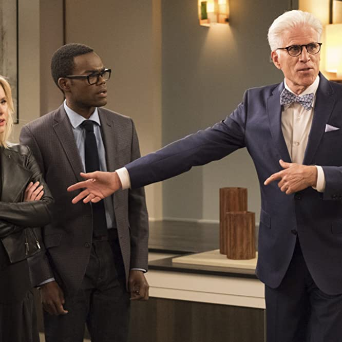 Ted Danson, Kristen Bell, and William Jackson Harper in The Good Place (2016)