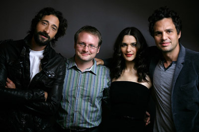 Rachel Weisz, Adrien Brody, Rian Johnson, and Mark Ruffalo at The Brothers Bloom (2008)