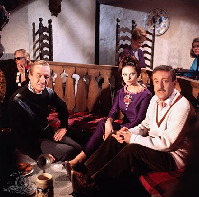 David Niven, Peter Sellers, and Claudia Cardinale in The Pink Panther (1963)
