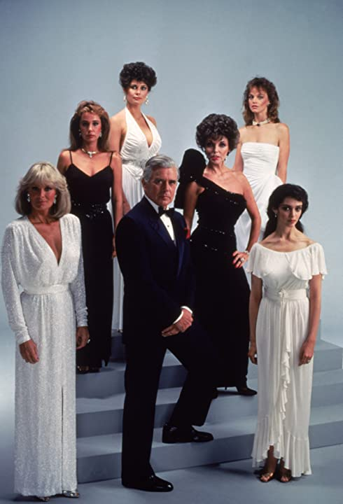 Deborah Adair, Kathleen Beller, Pamela Bellwood, Joan Collins, John Forsythe, Linda Evans, and Pamela Sue Martin in Dynasty (1981)