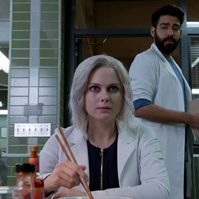 Rose McIver and Rahul Kohli in iZombie (2015)