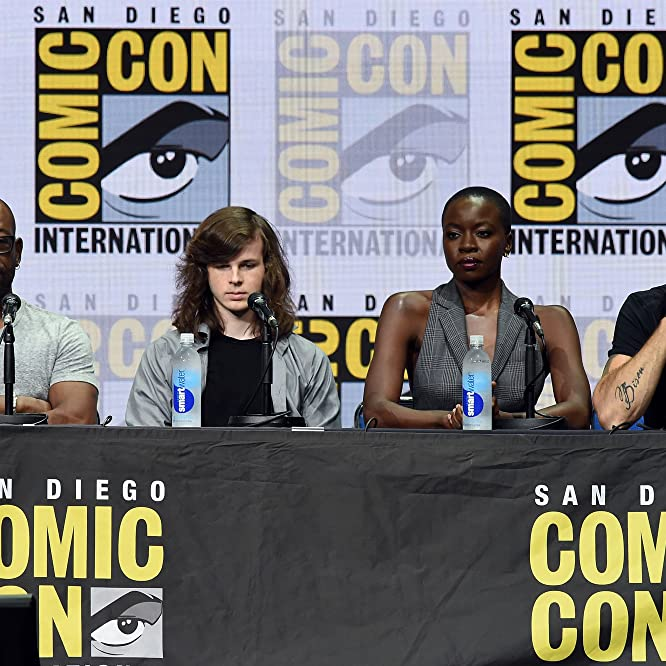 Lennie James, Jeffrey Dean Morgan, Danai Gurira, and Chandler Riggs at an event for The Walking Dead (2010)