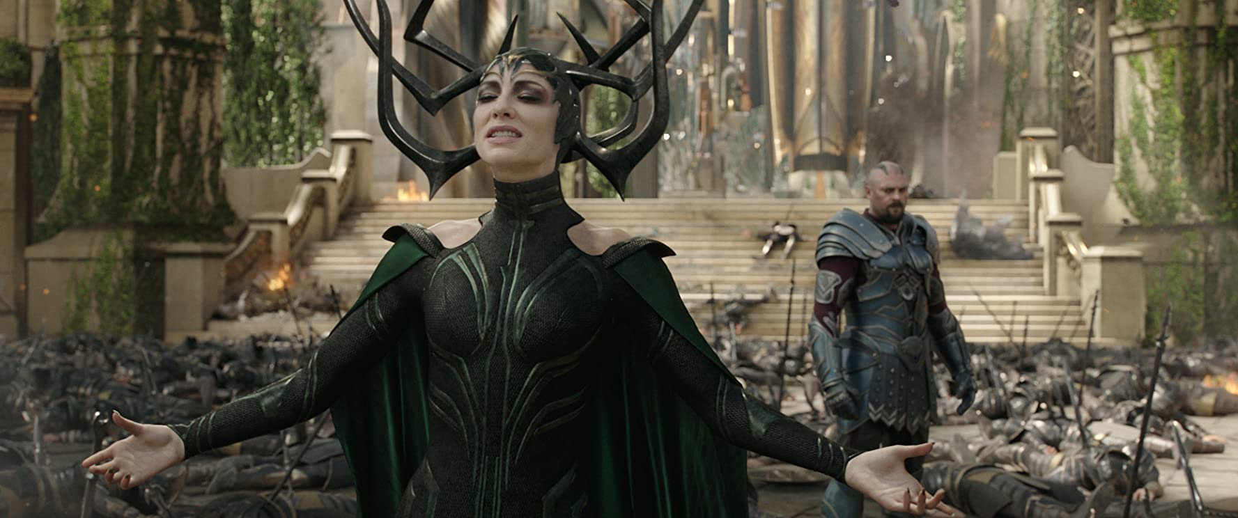 Cate Blanchett and Karl Urban in Thor: Ragnarok (2017)
