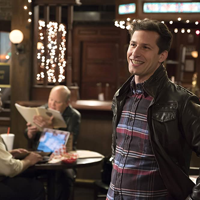 Dirk Blocker, Joel McKinnon Miller, and Andy Samberg in Brooklyn Nine-Nine (2013)