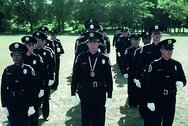 Kim Cattrall, Steve Guttenberg, Bruce Mahler, and Marion Ramsey in Police Academy (1984)