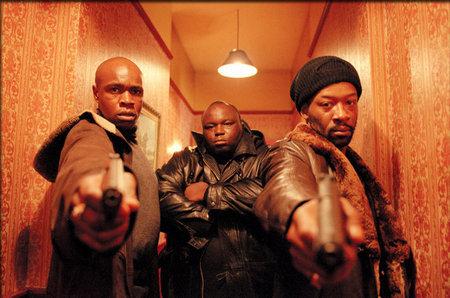 Tom Delmar Stunt Coordinator & Action Director. Robbie Gee, Ade & Lennie James ( Vincent, Tyrone & Sol ) in Guy Ritchie's 'Snatch'.jpg