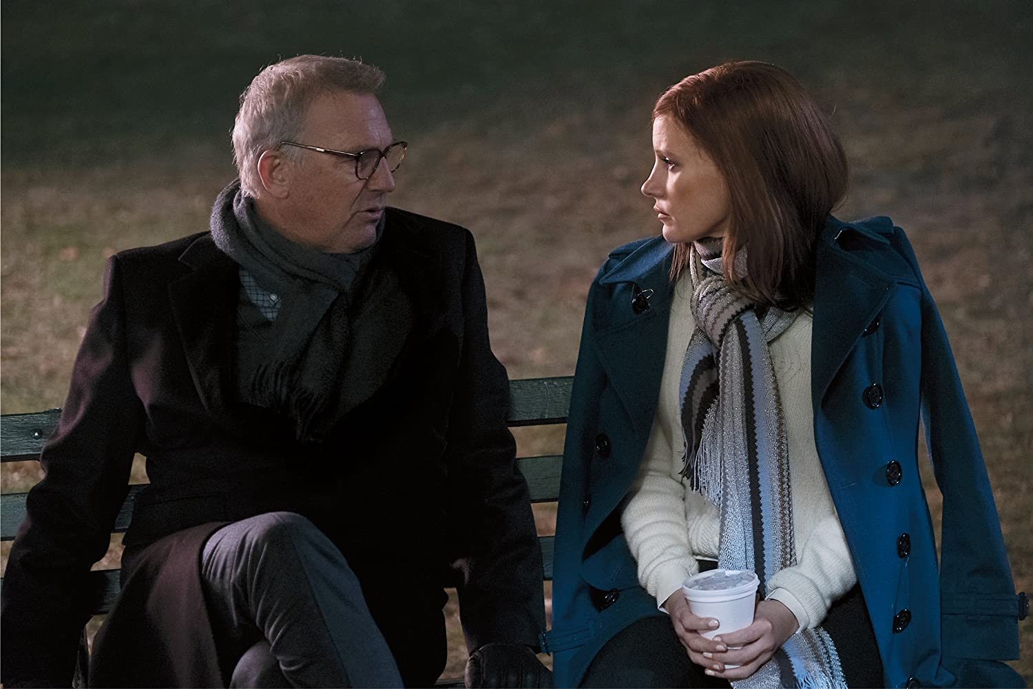 Kevin Costner and Jessica Chastain in Molly's Game (2017)