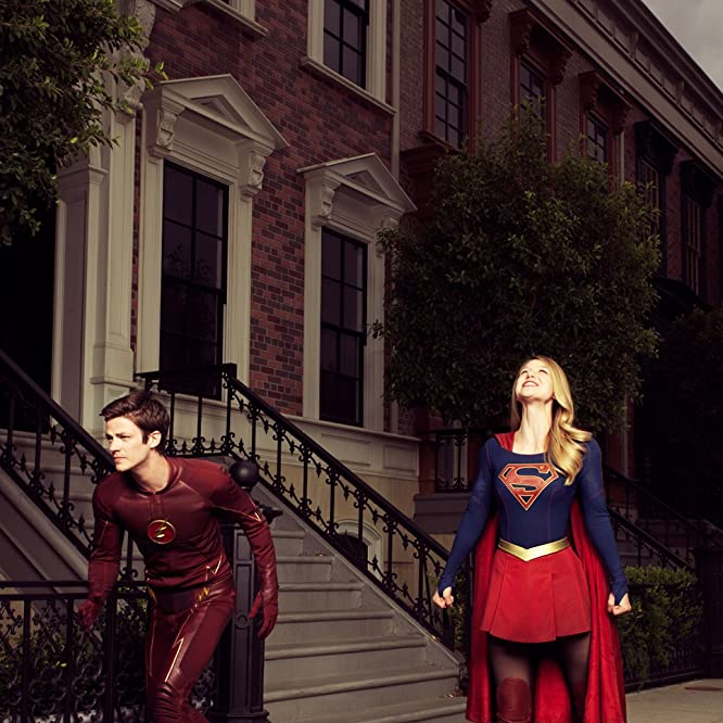 Melissa Benoist and Grant Gustin in Supergirl (2015)