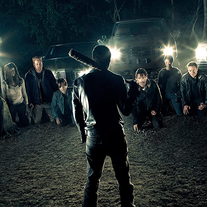 Norman Reedus, Michael Cudlitz, Andrew Lincoln, Jeffrey Dean Morgan, Christian Serratos, Lauren Cohan, Danai Gurira, Ross Marquand, Sonequa Martin-Green, Steven Yeun, Josh McDermitt, and Chandler Riggs in The Walking Dead (2010)