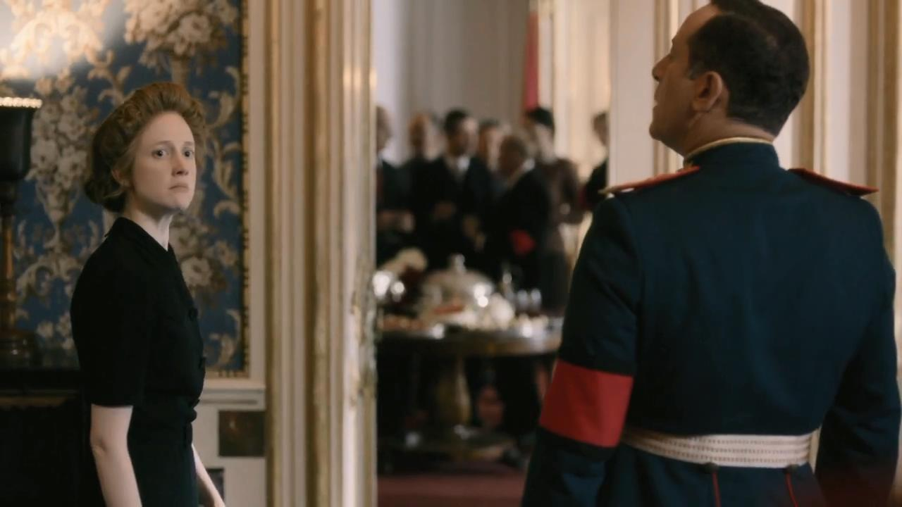 Jason Isaacs and Andrea Riseborough in The Death of Stalin (2017)