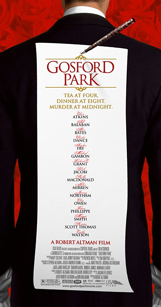 gosford park The academy award© winner for best original screenplay, gosford park is a whodunit as only director robert altman could do it as a hunting party gathers at the country estate, no one is aware that before the weekend is over, someone will be murdered - twice.