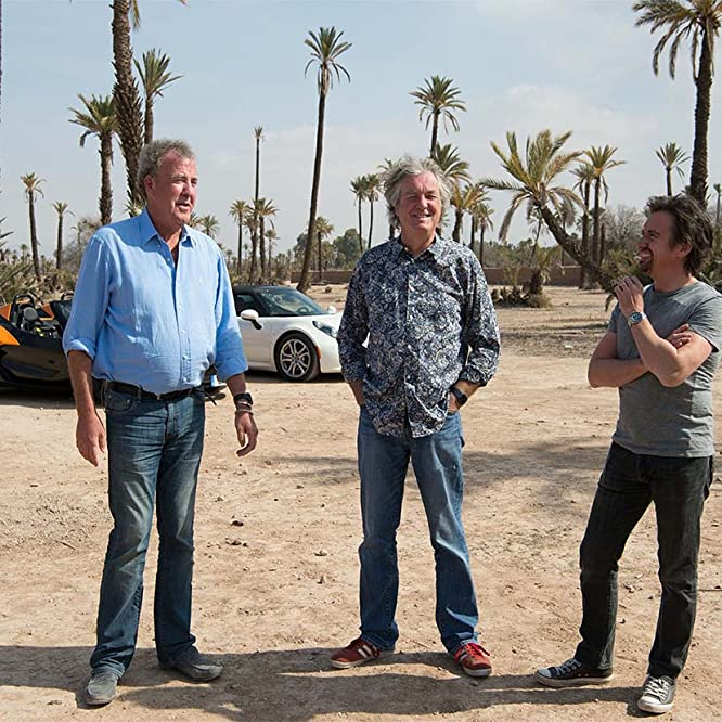Jeremy Clarkson, James May, and Richard Hammond in The Grand Tour (2016)