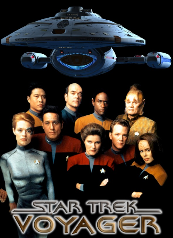 Robert Beltran, Robert Duncan McNeill, Kate Mulgrew, Robert Picardo, Jeri Ryan, Roxann Dawson, Ethan Phillips, Tim Russ, and Garrett Wang in Star Trek: Voyager (1995)
