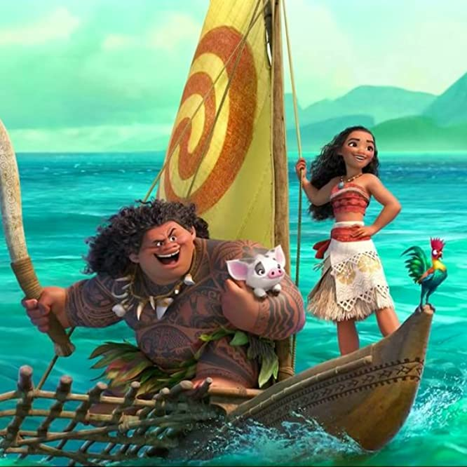 Dwayne Johnson, Alan Tudyk, and Auli'i Cravalho in Moana (2016)
