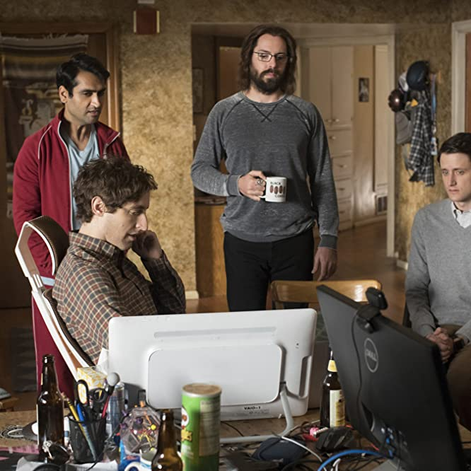 Martin Starr, Zach Woods, Thomas Middleditch, and Kumail Nanjiani in Silicon Valley (2014)
