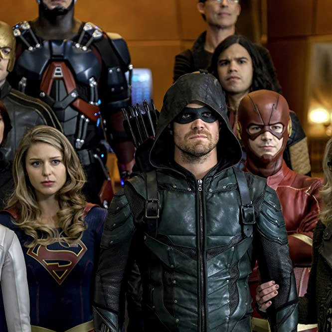 Chyler Leigh, Dominic Purcell, Russell Tovey, Stephen Amell, Caity Lotz, Melissa Benoist, Grant Gustin, Candice Patton, and Emily Bett Rickards in Legends of Tomorrow (2016)