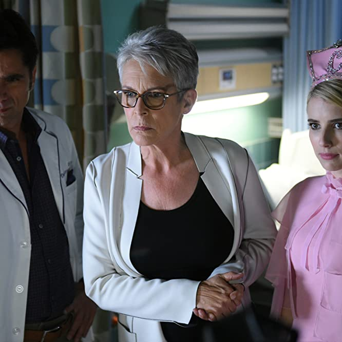 Jamie Lee Curtis, John Stamos, and Emma Roberts in Scream Queens (2015)
