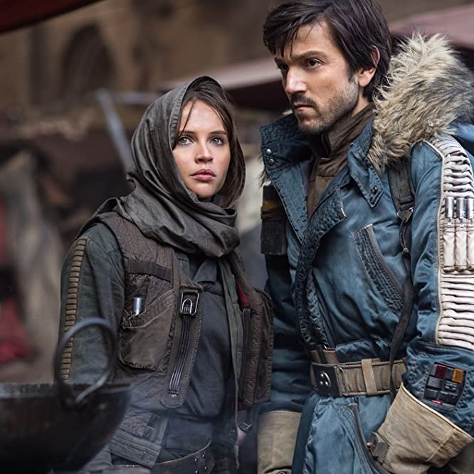 Felicity Jones and Diego Luna in Rogue One (2016)