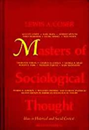 Masters of Sociological Thought: Ideas in…
