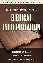 Introduction to Biblical Interpretation,…