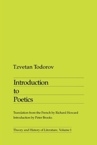 Introduction To Poetics (Theory and History of Literature), Todorov, Tzvetan
