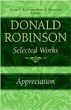 Donald Robinson. Appreciation: Also: Donald…