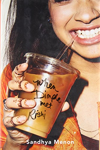cover of When Dimple Met RIshi, closeup of smiling girl drinking iced coffee
