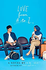 cover of Love from A to Z, aqua background, teenage boy and girl in airport seating