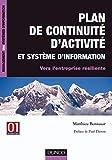 couverture du livre Plan de continuité d'activité et système d'information