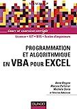 couverture du livre Programmation et Algorithmique en VBA pour Excel