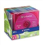 20PK CD-RW 80MIN 700MB 2X-4X Datalife+ Colorpk Brand with slim Case