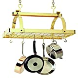 Classic Rectangle with Center Bar without Grid,Premier Ceiling Rack - Brass