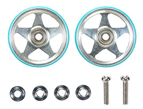 タミヤ ミニ四駆特別企画商品 19mmプラリング付 アルミベアリングローラー 5本スポーク ライトブルー 95397