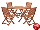 ScanCom Cotswold FSC Eucalyptus Wood Outdoor 4 Seater Dining Set, with Octangonal Table (5 Pieces)