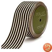 May Arts 1-1/2-Inch Wide Ribbon, Black Grosgrain Stripe