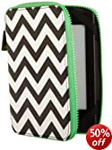 PUNCHCASE by Leslie Hsu� Ace Zip Around Cover, Black/White Chevron  [will only fit Kindle Paperwhite (5th and 6th Generation), Kindle (5th Generation), Kindle Touch (4th Generation) and Kindle (7th Generation)]