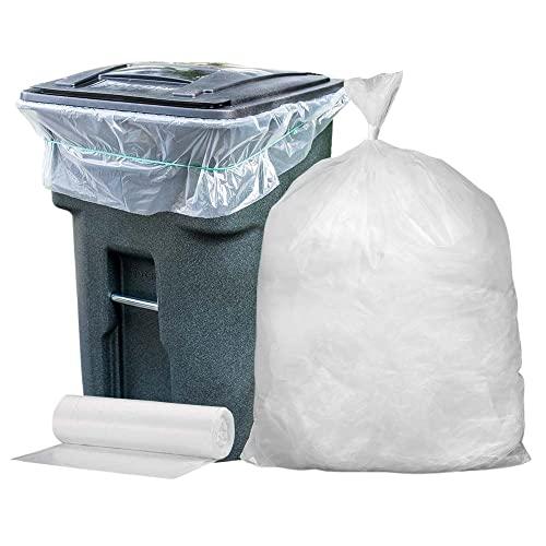 50 Ct 45 Gallon Heavy Duty Clear High Density Trash Garbage Bag Liner 1.5 Mil